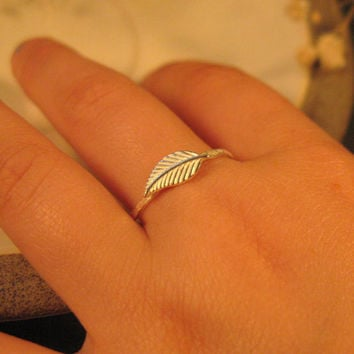 Sterling silver leaf ring  stacking ring nature by DvoraSchleffer