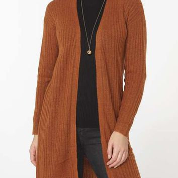 Ginger Ribbed Long Line Cardigan - Sweaters - Clothing