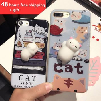 Squishy Phone Case for iPhone 6 6S i6 plus 3D Cute Soft Silicone Panda Sleeping Cat Kitty Cover for iPhon 7 7plus  Housing Coque