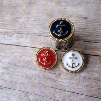Pair of Nautical Gold Enamel Anchor Plugs - Girly Gauges - 4g, 2g, 0g, 00g, post earrings - Feminine Plugs
