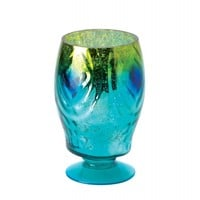 Regal Peacock Shimmering Glass Hurricane Candle Lantern