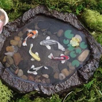 Miniature Koi Pond B, Fairy Garden Accessory, Fairy Garden or Zen Garden, Dollhouse Decor, Model Train or Diorama, Home Decor, Fake Koi Pond