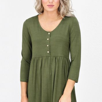 3/4 Sleeve Smocked Buttons Top {Olive}