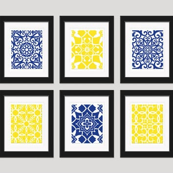 Navy Yellow Wall Art, Blue Yellow Art, Home Decor, Set of 6 - 8x10 Prints, Living Room Art, Bedroom Art, Dining Room Art, Navy Yellow Decor