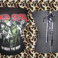 Psychobilly/ Rockabilly/ Horror/ Punk Mad Sin Polkadot corset top. Size. XS, S, M, L, XL