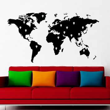 World Map Atlas With Google Dots Vinyl Wall Sticker Home Decor For Living Room Art Decal Removable Self-adhesive Mural F701
