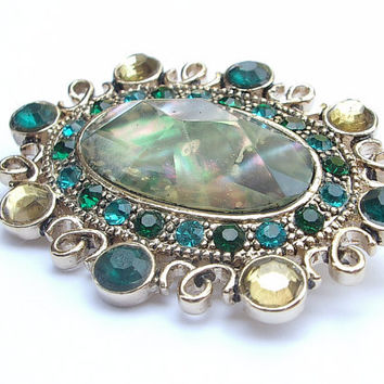 Antique brooch pin, vintage Monet jewelry, green glass brooch, blue green rhinestone brooch, yellow rhinestones, wedding gift for bride