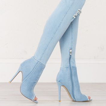 Over The Knee Denim Boots in Light Blue, Medium Blue and Dark Blue