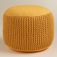 Yellow Indoor-Outdoor Pouf - World Market