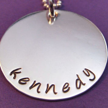 Handstamped Name Necklace in Sterling Silver 1 by thirtyoneshekels
