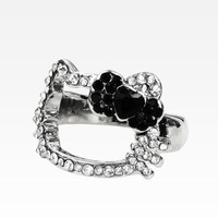 Hello Kitty Face Ring: Black Bow Rhinestone Size 6