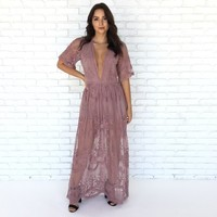Wine & Dine Embroidered Maxi Dress in Mauve