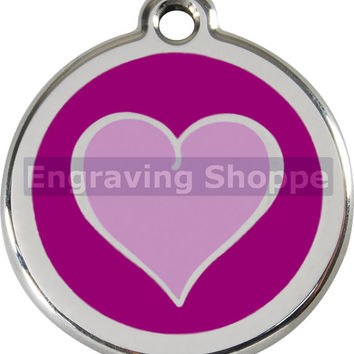 Purple 2 Tone Heart Enamel and Stainless Steel Personalized Custom Pet Tag LIFETIME GUARANTEE ID Tag Dog Tags and Cat Tags Free Engraving