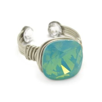 Aurora Borealis Ring in Silver-filled: Mint Opal Swarovski® Crystal