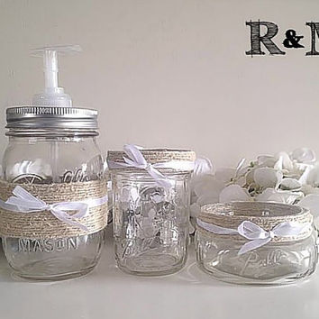 Mason jar bathroom set, Housewares, bathroom accessories, bathroom decor, bathroom organizer, gift set, soap dispenser