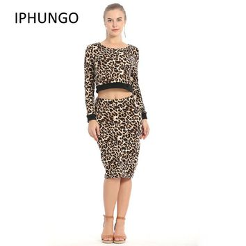 Autumn Ladies Sexy Two Piece Set Women Leopard For Grain Casual O Neck Long Sleeve Top Pencil Knee-length Dress Party Suits