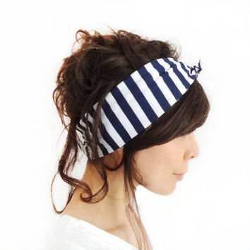 Tie Up Headscarf Navy and White Stripe