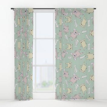 Raining Cats and Dogs Window Curtains by lalainelim
