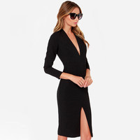 Long Sleeve Deep V-Neck with Side Slit Bodycon Dress