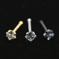 2Piece 20Gx6x2mm Gold Square Zircon Nose Ring Stud Rings Silver Piercing Tragus Ear Piercing Earring Nose Nail Body Jewelry