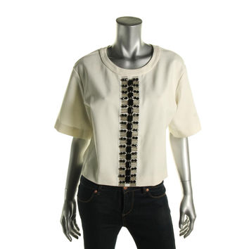 DKNY Womens Embellished Elbow Sleeves Pullover Top