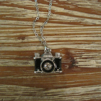 Silver Camera Necklace - Silver Rhinestone Camera Necklace - Camera Jewelry - Black Camera Necklace - Photo Necklace - Photographer Necklace