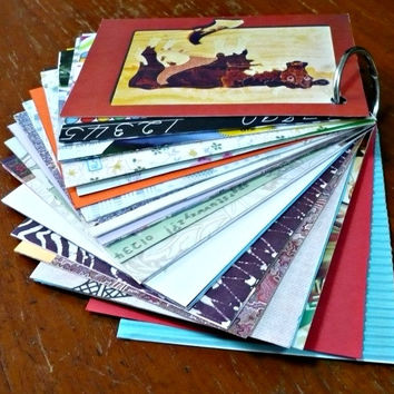 Mini Junk Journal Mixed Paper Journal Smash Book Scrap Book Recycled Papers (3.25 x 4.4 inches) with Bonus Pack of Chinese Red Packets