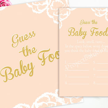 Guess The Baby Food Pink and Gold Baby Shower Game Printable with Sign Baby Food Game Instant Download Girl Baby Shower digital