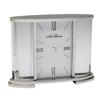 Seth Thomas Silver Glass Carriage Table Clock