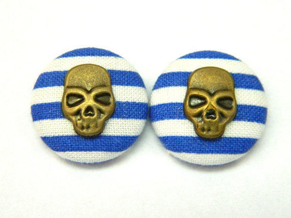 Button Earrings Nautical Rockabilly Pirat Blue- White Stripes