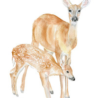 Doe and Fawn Watercolor Painting Giclee Print 8x10 Nursery Art 8.5x11 - Woodland Animals Deer