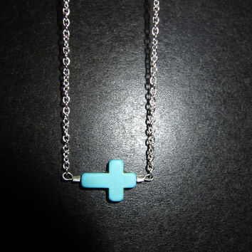 Turquoise Sideways Cross silver Necklace