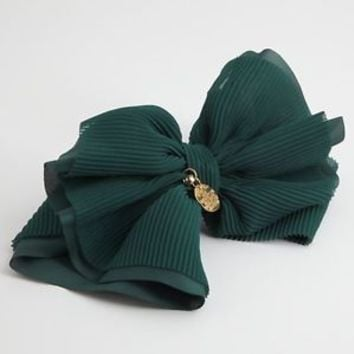 Handmade Pleated Bow Chiffon French Hair Barrettes Gift Accessories