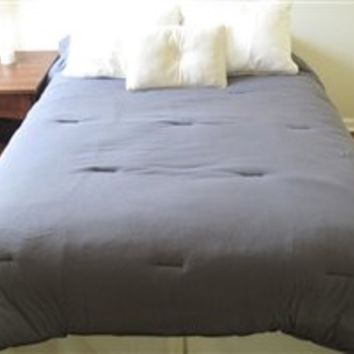 Jersey Knit Twin XL College Comforter (100% Cotton) - Gray Bedding Dorm College Comforter Soft