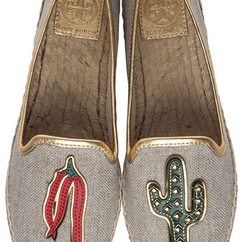 Tory Burch Santa Fe A-Line Espadrille Chili Pepper/Cactus Fabric - Jildor Shoes, Since 1949