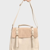 Leatherette Suede Backpack - Cream