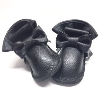 Black bow genuine leather high top moccasins, mini boots with rubber or soft sole
