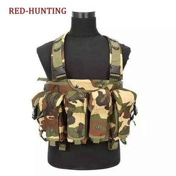 Camouflage Military Vest Airsoft Hunting Tactical Vest Load Bearing Chest Rig Combat Vest w/ 5 Pouches Hold Gun Accessory