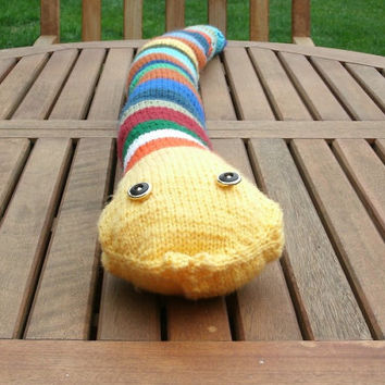 Hand Knit Toy - Knit Stuffed Snake - Children's Toy Stuffed Animal