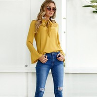 Elegant Blouse Long Sleeve Shirt With Bow Tie