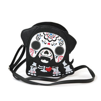 Cute Little Spooky Sugar Skull Day of the Dead Skeleton Dog Cross Body Bag Purse