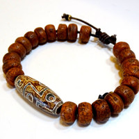 Men's Tibetan DZI  and Bodhi Seed bead leather bracelet, sophisticated wrist candy for men,adjustable bracelet