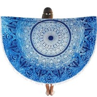 "Round Beach Throw Tapestry Hippy Boho Gypsy Cotton Table Cover Round Tapestry wall hanging 70"" Gift"
