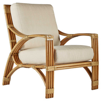 Alexa Rattan Lounge Chair, Natural, Accent & Occasional Chairs