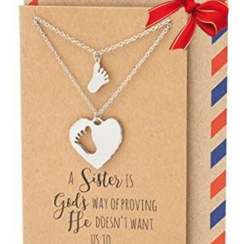 Ansley Sisters Necklaces, Gifts for Sister Quotes Jewelry Greeting Card
