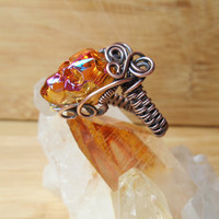 Crystal Skull Ring Swarovski Astral Pink Orange Wire Wrapped in Oxidized Copper Wire Size 7
