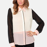 Power Trip Blush Color Block Top