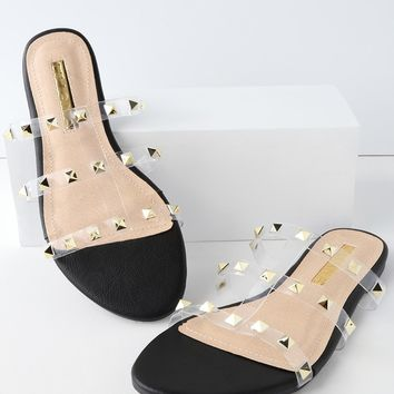 Marlow Black Studded Slide Sandals