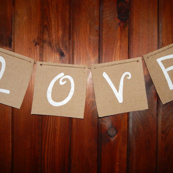 Burlap Banner - Burlap Wedding Banner - Rustic Wedding Decor