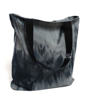 Black Shibori Tote, Cotton Canvas Bag, Hand Dyed Tote Bag, Market Bag, Black Shopping Bag, Shopper Tote, Large Tote Bag, Gray Shibori Tote